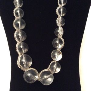 Large Clear Graduated Stones with Silver Chain